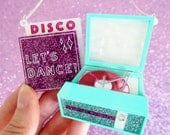 Record Player Necklace - Acrylic Necklace - Mint & Pink