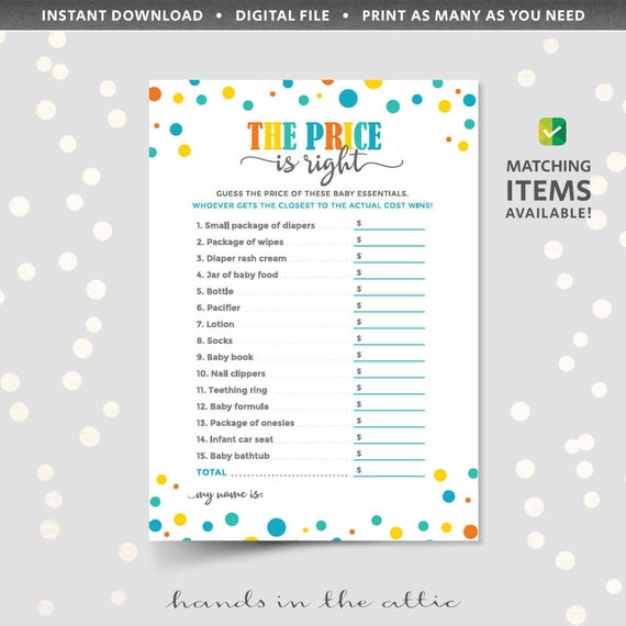 The Price Is Right Baby Shower Game Printable Template Cards Sheets
