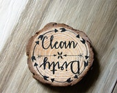 Rustic Clean Dirty Dishwasher Magnet - Wood Slice Magnet - Kitchen Magnet - Personalized Wood Slice Magnet - Dishwasher Magnet