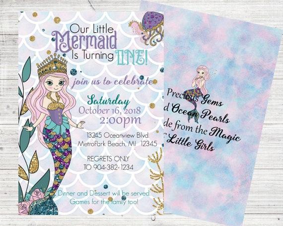 Mermaid Invitations Mermaid Birthday Party Under The Sea