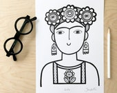 NEW A4 Frida Kahlo Screen Print by Jane Foster