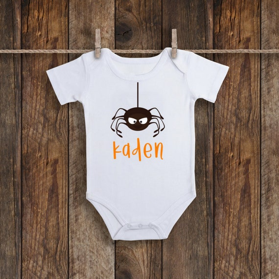 a72029790ff1 Personalized Name Halloween Fall Autumn SPIDER Baby Infant Bodysuit ...
