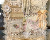 Lacy FRENCH Wall Pocket Organizer Tattered lace, Hanging Shabby Chic Wall art VINTAGE trims, bling, Mixed Media Collage