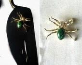 Arachnid vintage agate spider brooch