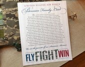 Air Force Parent Creed Sign, Air Force BMT, Air Force Family Creed, Fly Fight Win, Air Force Personalized Family Creed, Proud Air Force Mom