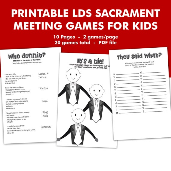 PRINTABLE LDS Sacrament Meeting Games For Kids Mormon Church ...