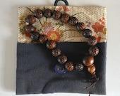 Buddhist mala bodaiju seed prayer beads with pouch, vintage Japanese juzu, onenju rosary #10