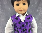 """Black Cat Vest for 18"""" Boy Dolls.  Purple Halloween 3 button waistcoat w/ 2 real pockets. Made to fit American Girl Boy dolls."""