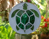 "Sea Turtle Stepping Stone, Large 18"" Diameter Made with Concrete and Stained Glass, Perfect for Your  Patio or Backyard Garden Path #879"
