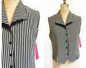 HOLD Cream and black striped vest sleeveless shirt with double collar. Size L.