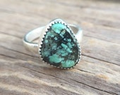 Reserved for Mary - Size 7 New Lander Variscite Solitaire Ring -  Stacking Ring - Statement Ring - Mint Green