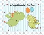 digitale Stickdatei Drago Doodle 13x18cm