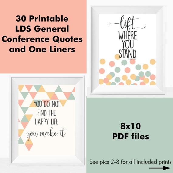 Printable LDS General Conference Quotes Mormon Wall Art Home Decor ...
