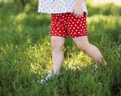 Red Dot Bloomers/ 4th of July Outfit/ Diaper Cover/ Baby Shorts/ Toddler Shorts/ Baby Girl Shorts/ Baby Shower Gift/ Baby Outfit