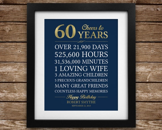 cheers to 60 years 60th birthday gift for man personalized 60th