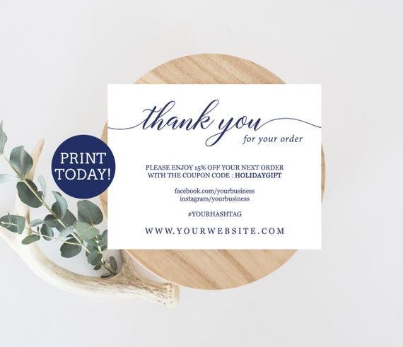 Navy business thank you card template etsy seller thank you card il570xn wajeb Gallery
