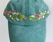 Ready to Ship Hand Embroidered Hat - Agave Green