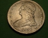 1837 Capped Bust Half Dollar, Reeded Edge - Fine /  Very Fine    - Free Shipping In United States # ET0141