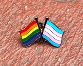 "The ""Brett Kavanaugh"" LGBTQ + TRANSGENDER Rainbow Pride DOUBLE Flag Pin for Lapels, Shirts, Backpacks, Hats, etc... (Silver or Gold Back)"