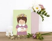 Frühling Postkarte Mädchen mit Hase