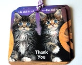 4 Gift Tags, Cute Surprised Kittens, Funny Party Favor Tags, Cat Lover, Takuniquedesigns