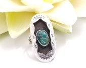 Vintage Native American Sterling Turquoise Shadowbox Ring, Oval Ring w Oxidized Silver and Turquoise, Stamped Silver Symbols, Size 6.25
