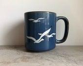 Vintage 70's Otagiri Blue Stoneware Birds Mug