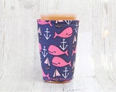 Whale Nautical Iced Coffee Cozy, Cup Cozy, Iced Coffee Cozy, Cup Sleeve, Coffee Cuff, Drink Sleeve