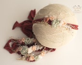 Jersey headband/ newborn props/ girl headband/ burgudy