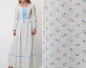 PRAIRIE dress- Vintage PHOTOSHOOT dress long sleeve floral HIPPIE boho festival alt wedding white blue 70s maxi 1970s dress