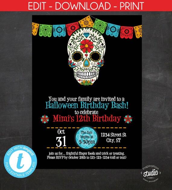 Sugar skull birthday invitation halloween birthday invite day of il570xn solutioingenieria Choice Image
