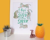 Tigers A3 Green and Orange Risograph Inspirational Quote Motivational Illustration Wall Art Animal Print
