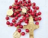 Rosary - French Red Coral Eucharist - Ste Madeleine & Saintes-Maries - 18K Gold Vermeil