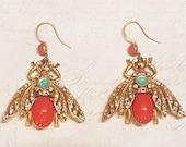 Askew London Bee Earrings Pierced Coral Glass