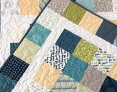 Modern Lap Quilt, Handmade Throw, Patchwork Blanket, Blue, Green, Homemade Quilts for Sale, Ready to Ship
