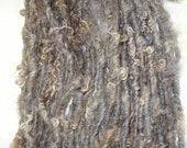 Handspun Yarn Natural Undyed Wool Bulky Lock Spun 48 yards gray tan brown