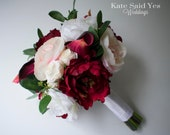 Wedding Bouquet, Burgundy and Blush Pink Peony Bouquet with Greenery, Silk Wedding Bouquet