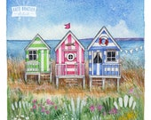 NEW PRINT - The Three Beach Huts - Special Signed Limited Edition Signed Print