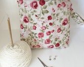 Knitting project bag / make up / crochet project bag / sock knitting project bag cream pink rose floral