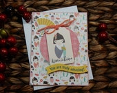 Konnichiwa / Handmade / Blank Inside Greeting Card / Stamped Greeting Card / Just Because Greeting Cards