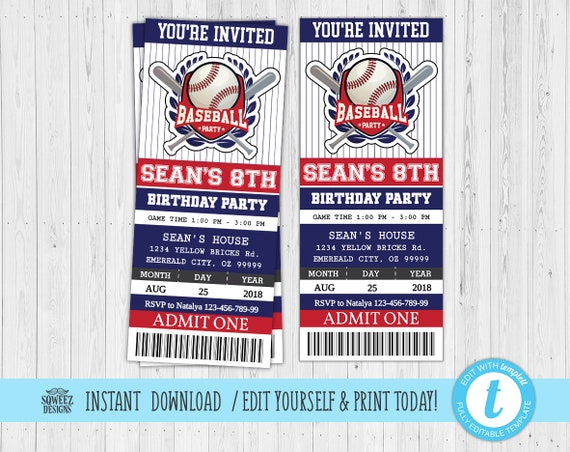 baseball birthday invitation  baseball ticket invitation