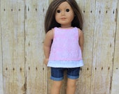 "Pink burnout and white eyelet overlay tank top for 18"" dolls such as American Girl and My Imagination"