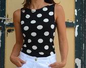 Beautiful vintage retro black/white polka dot viscose top.one size