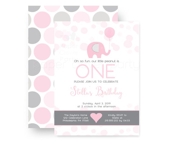 Pink Elephant Birthday Party Invitations For Girls