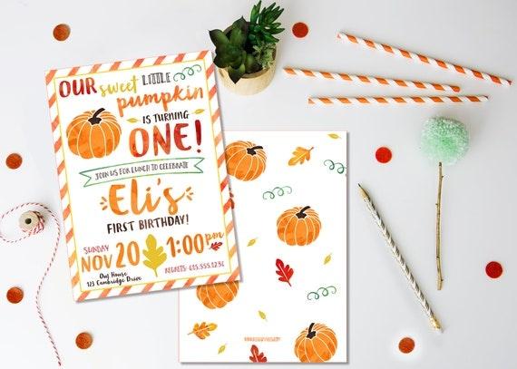 pumpkin birthday invitation printed invitations fall birthday