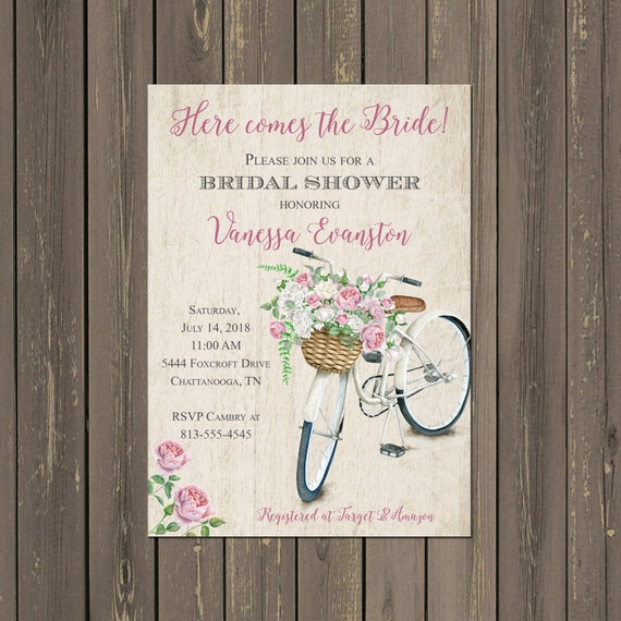 Bicycle bridal shower invitation pink and tan bike shower il570xn filmwisefo
