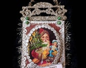 Victorian Christmas ornament. Santa Christmas ornament. Santa Claus ornament. Dresden ornament. Vintage style Christmas ornament.  DS1804