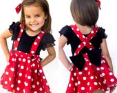 Priority Mail Red Pink polka dots criss cross suspenders circle SKIRT ONLY, Minnie Mouse birthday outfit with a matching hairbow, Baby