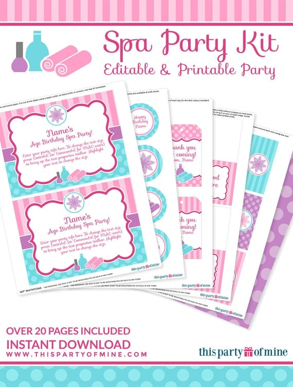 Spa Party Decorations Birthday Printable By