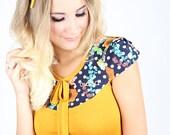 """MEKO """"Joly"""" Shirt Damen Rosa Senfgelb Gelb Punkte Blumen kurzarm Top Schleife Rose Yellow Flowers Dots"""